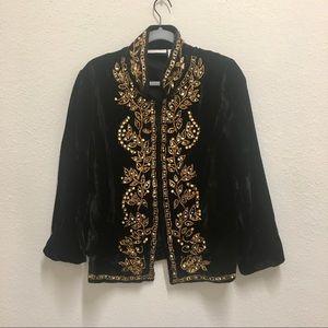 Soft surroundings velvet beaded embroidered jacket